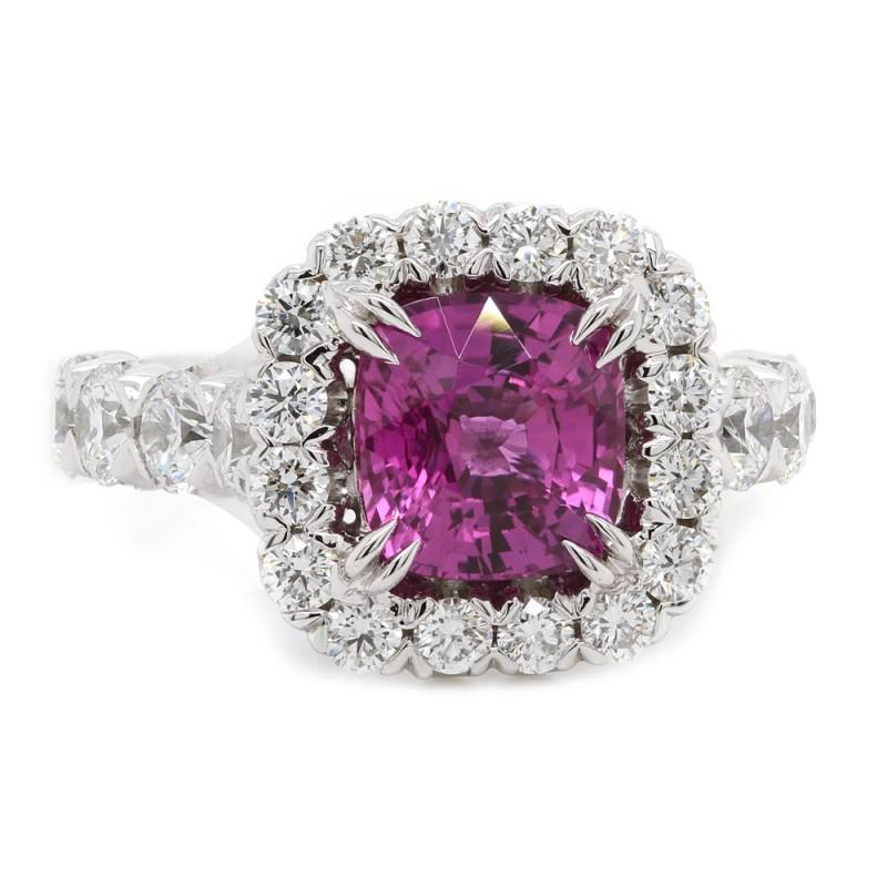 Pink Sapphire Halo Estate Ring