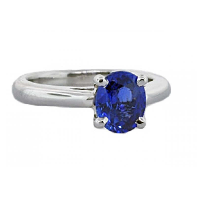 Blue sapphire and platinum solitaire ring