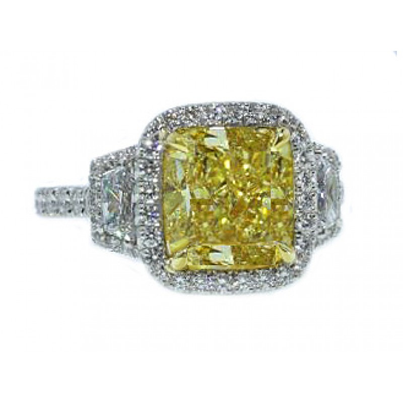 4.02ct fancy yellow cushion diamond pave' ring