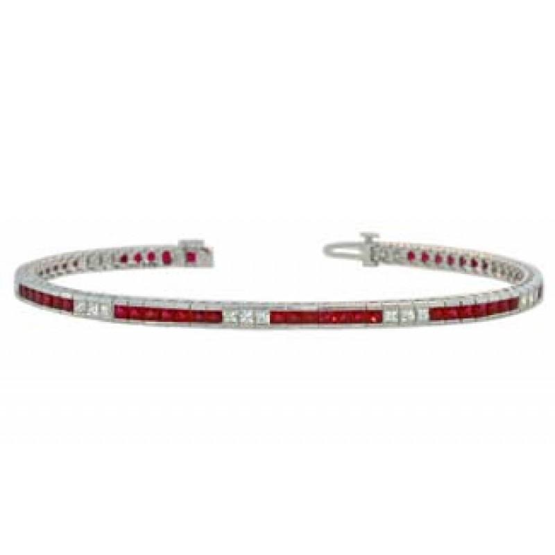 Princess cut ruby and diamond channel set bracelet