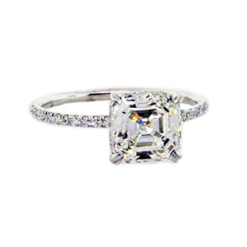 488c87f33cddc Asscher cut diamond pave solitaire ring