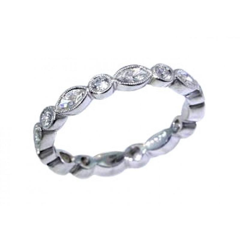 Marquise round diamond bezel set alternating band