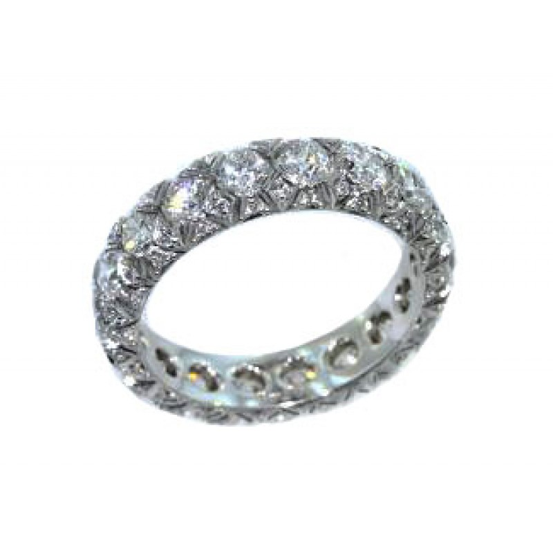 French pave diamond fancy lattice eternity band
