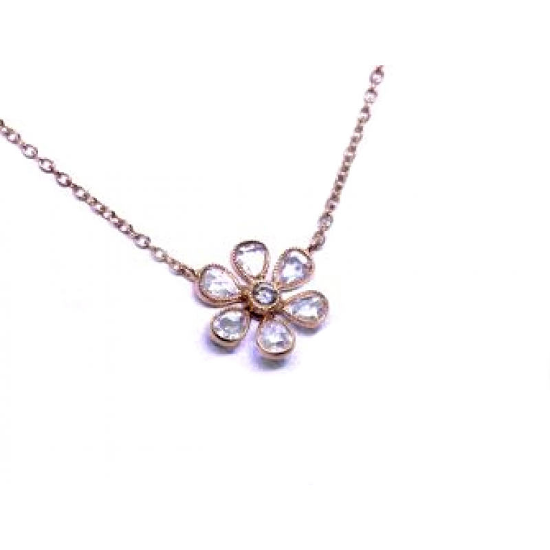 Rose Gold Rose Cut Diamond Flower Pendant