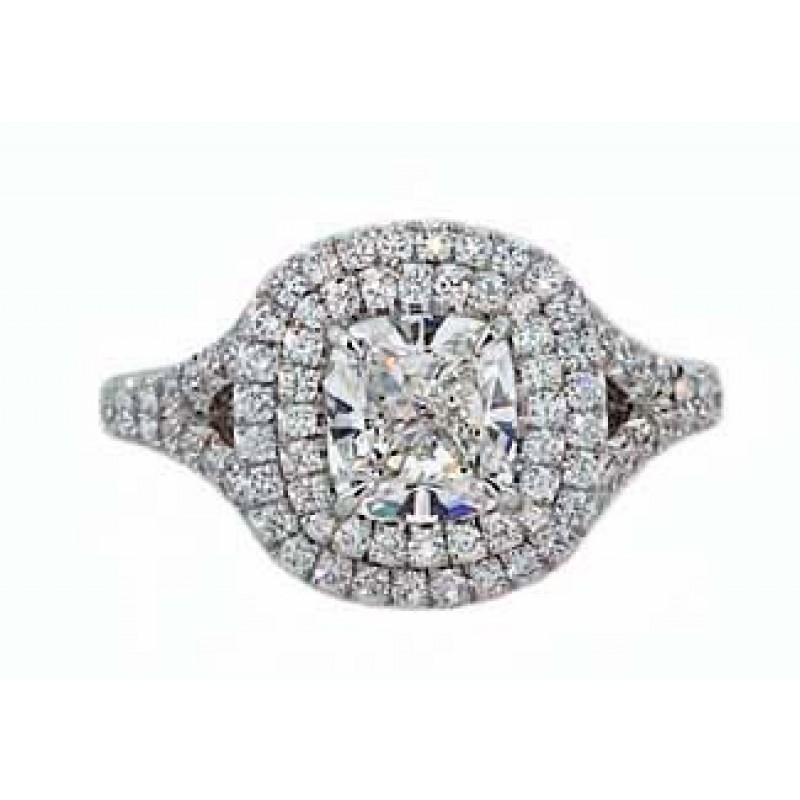Cushion modified brilliant diamond double pave' halo engagement ring