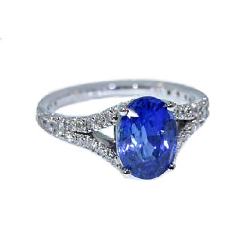 fcb8318bb9b91 Blue sapphire oval split shank pave diamond ring