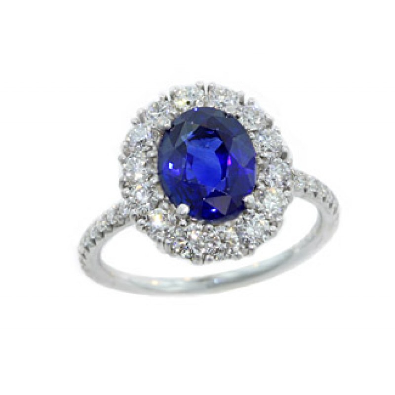 Sapphire center shared prong diamond halo ring