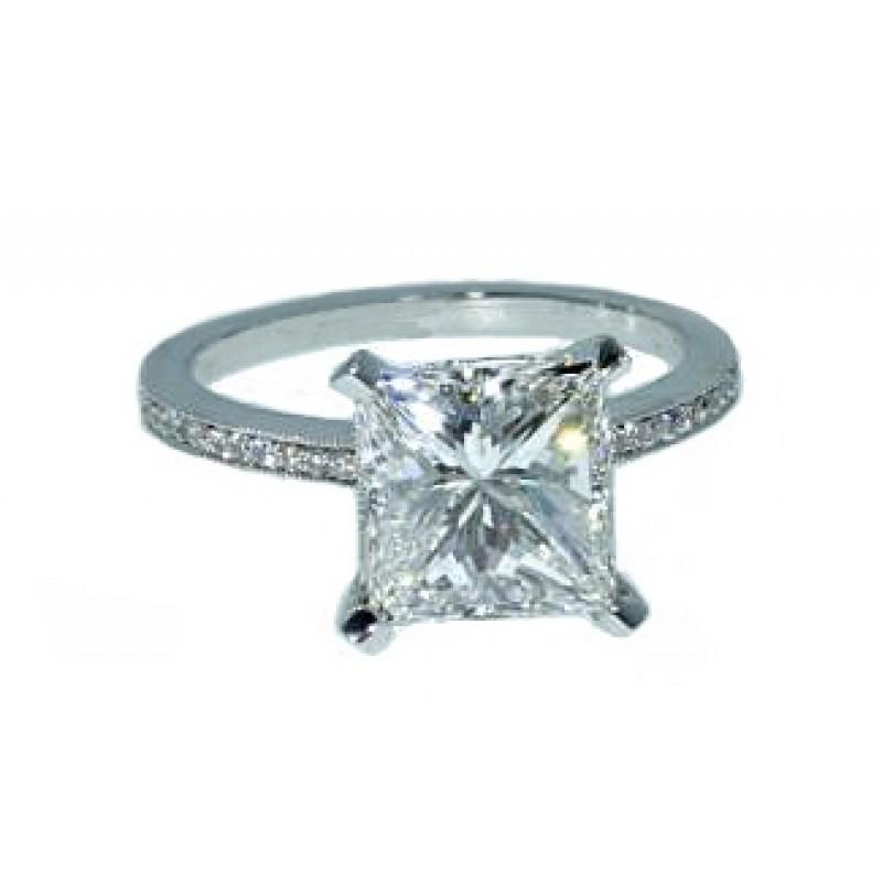 Princess cut diamond pave band engagement ring