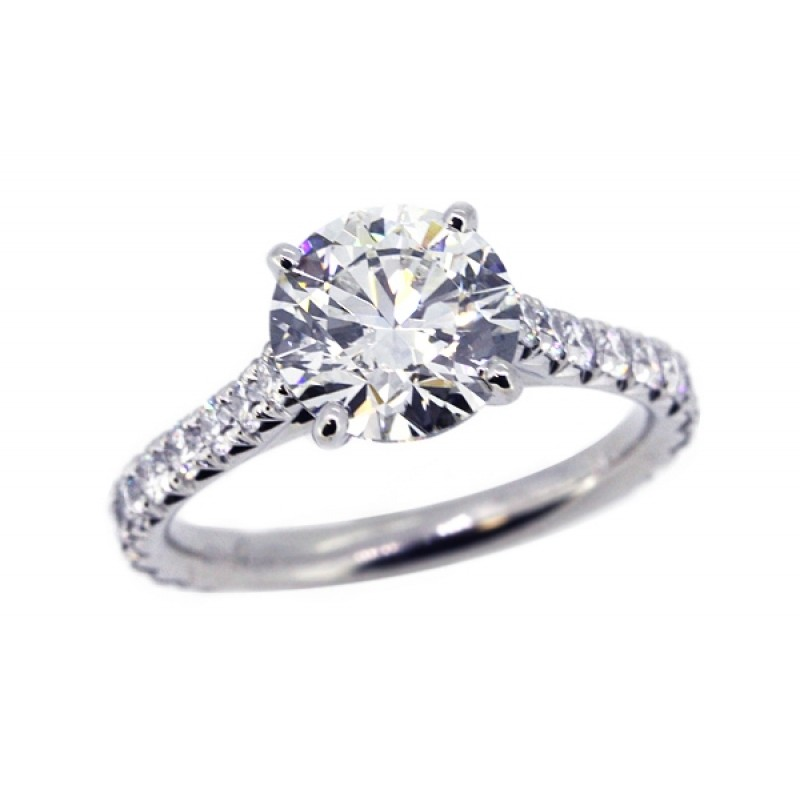 French pave' diamond cathedral engagement ring