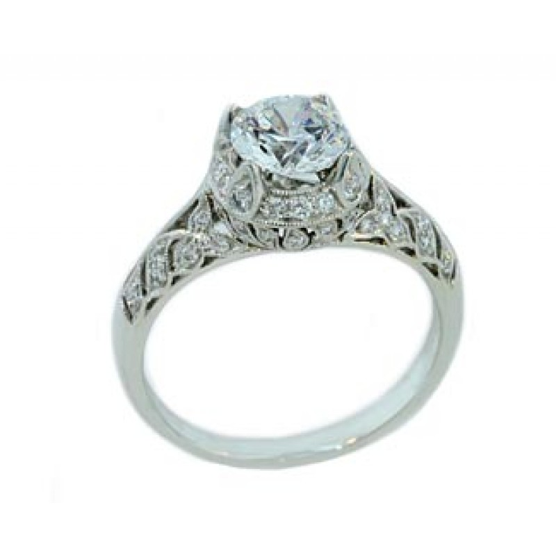 Vintage style floral pierced pave' diamond ring