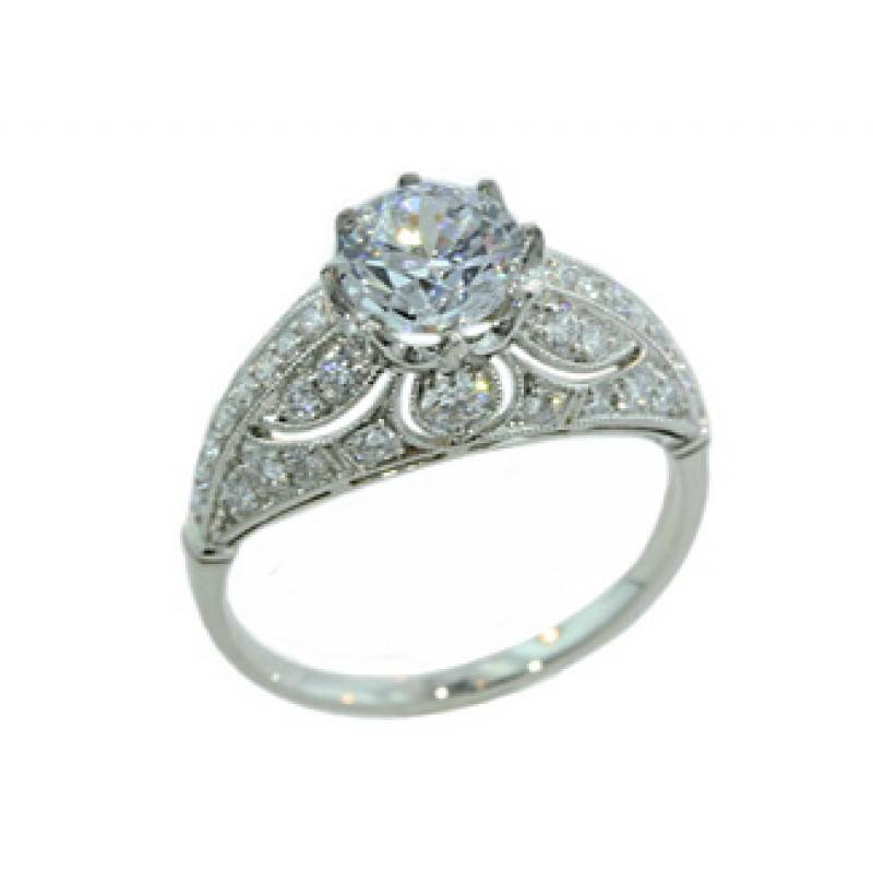 Pierced filigree domed vintage design pave' ring