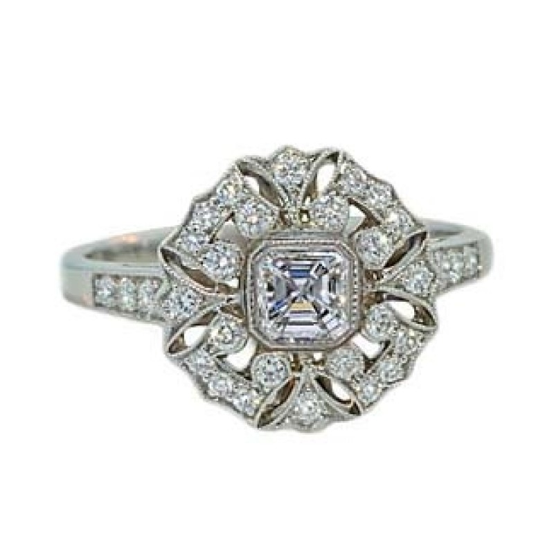 Antique design Asscher center pave diamond ring