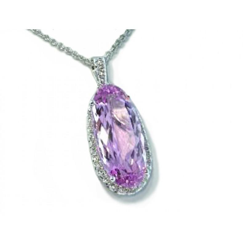 Oval Kunzite graduated pave' diamond halo pendant