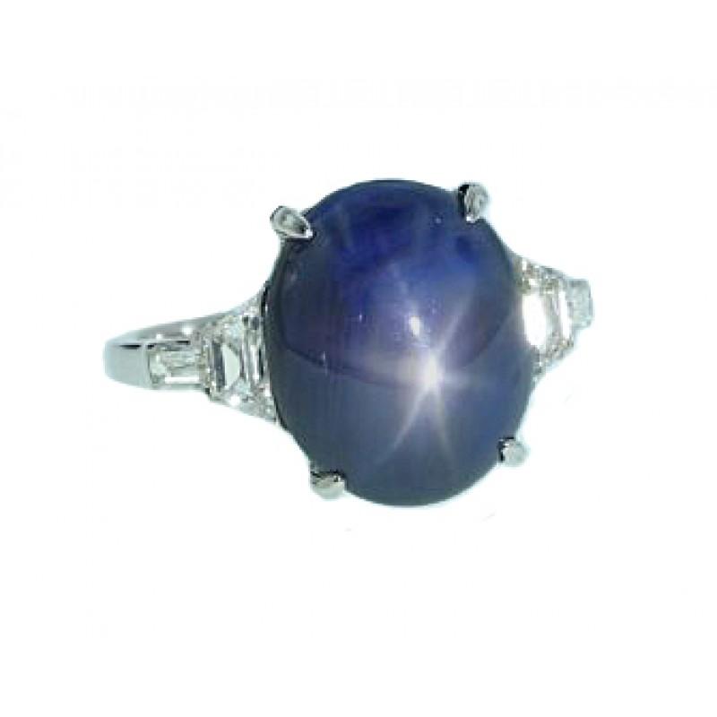 Estate platinum Star Sapphire and diamond ring