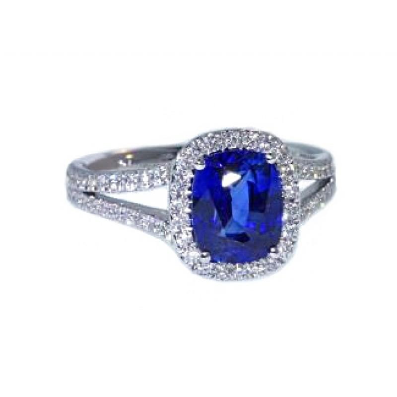 2.82ct cushion sapphire pave' halo split diamond ring