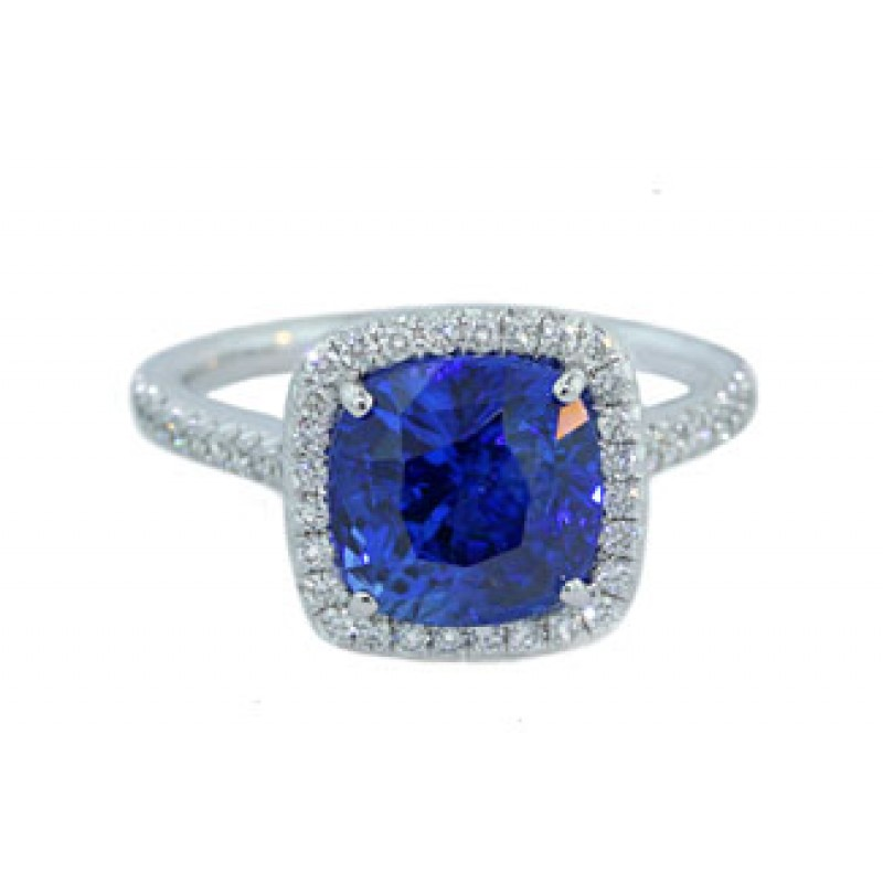 4.48ct cushion cut blue sapphire pave' diamond ring