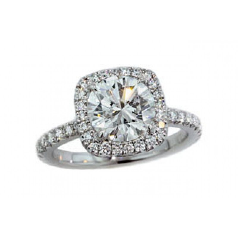 2.02ct round diamond w/ cushion pave' tilt halo ring