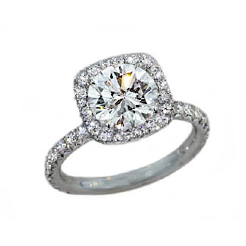 Handmade French pave cushion halo platinum engagement ring