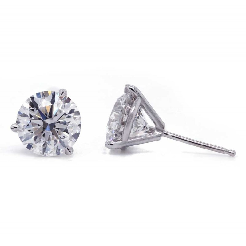 """3.01ctw F/SI1- SI2 """"Martini"""" solitaire earrings"""