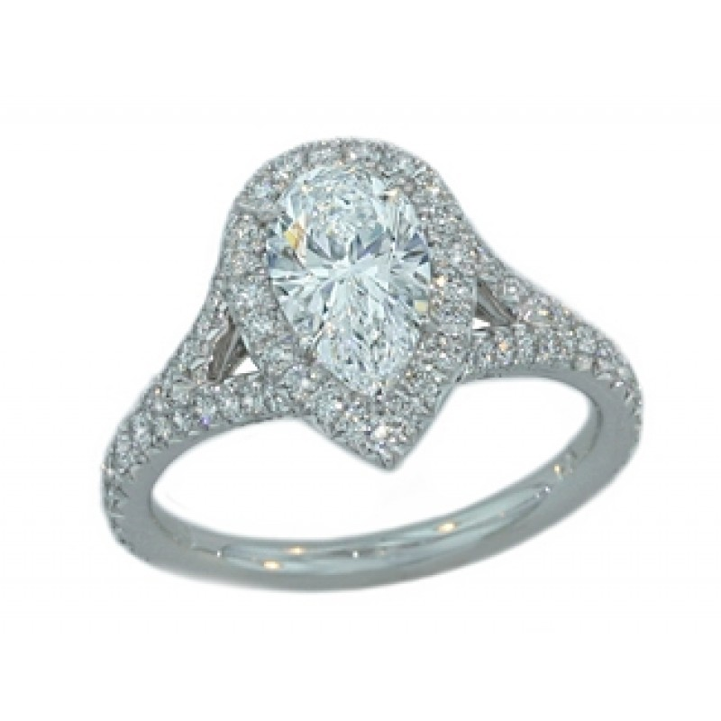 1.18ct D/VS1 Pear diamond halo split shank plt rin