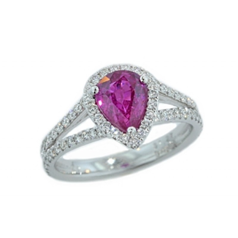 Custom made 1.27ct pear pink sapphire pave' halo split ring