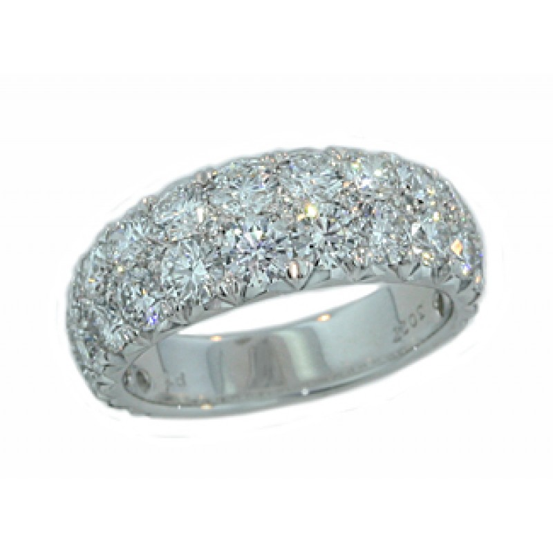 Custom made two-row graduating hidden diamond pave band