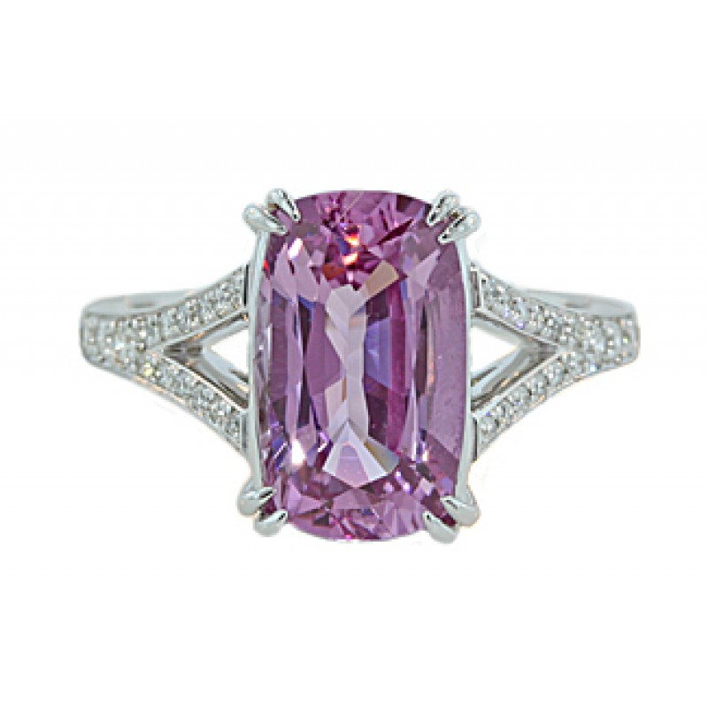 4.04ct cushion purple Spinel pave' split shank ring