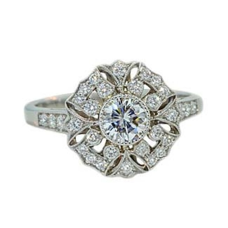 Snowflake Design Pave Diamond Ring