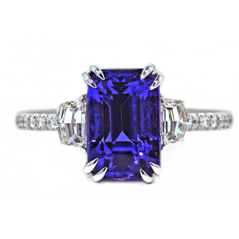 4.5ct Tanzanite step cut half moon pave ring