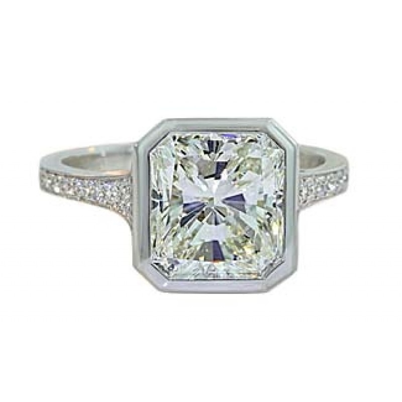 3.3ct Radiant diamond bezel design pave taper rin