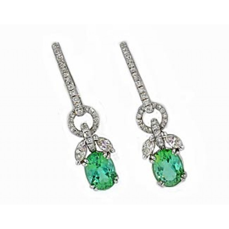 2.77ctw mint tourmaline diamond drop earrings