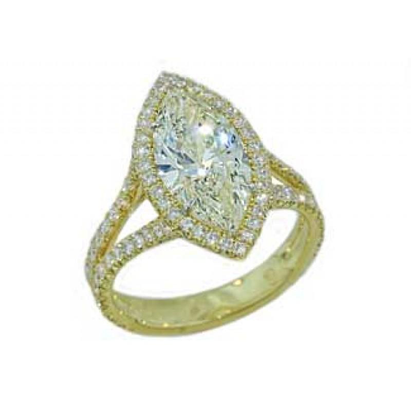 2.7ct Marquise diamond 18k pave' halo split ring