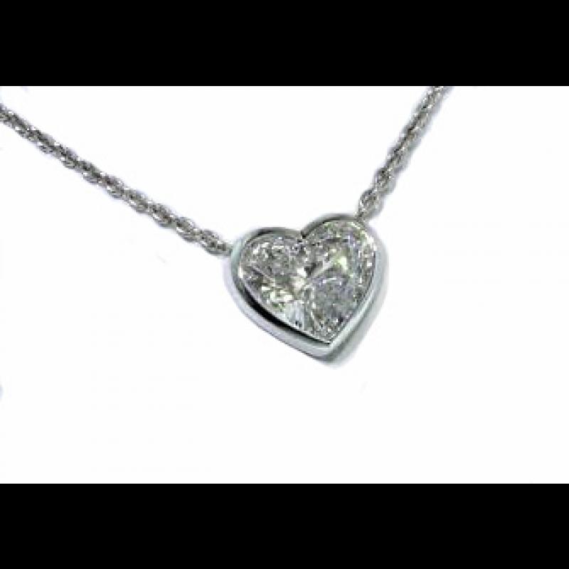 Bezel set diamond heart solitaire necklace