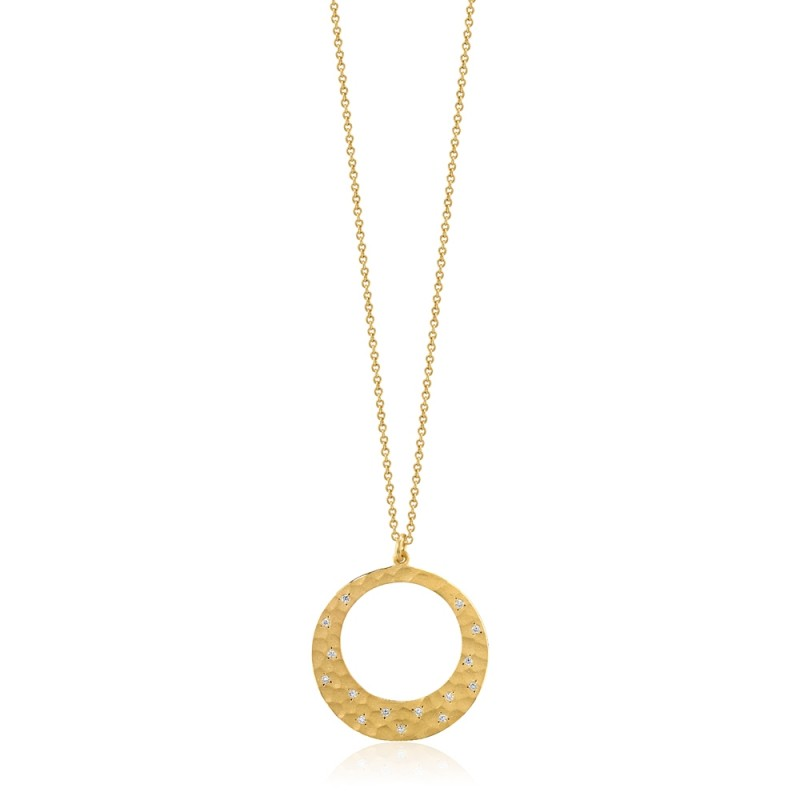 Hammered Finish Diamond Circle Pendant