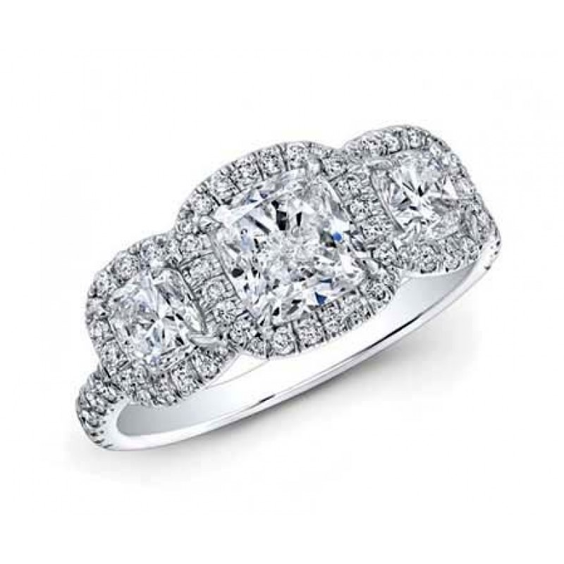 3-stone diamond cushion pave halo custom made ring