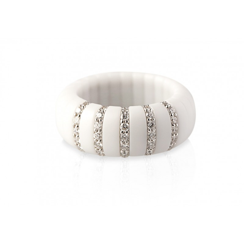 Roberto Demeglio White Ceramic Diamond Ring