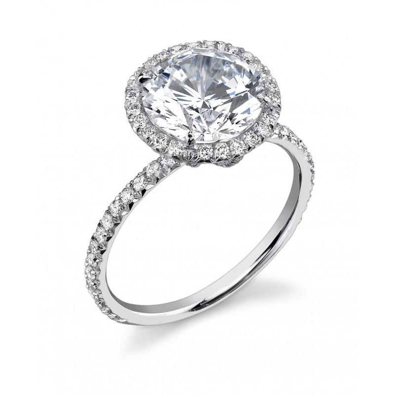 Custom round diamond pave halo basket ring