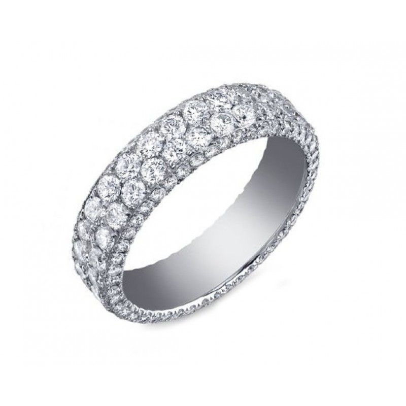 Custom two row three-sided pave' diamond band