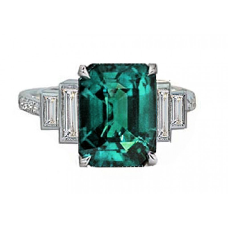 Blue-green tourmaline and baguette diamond ring