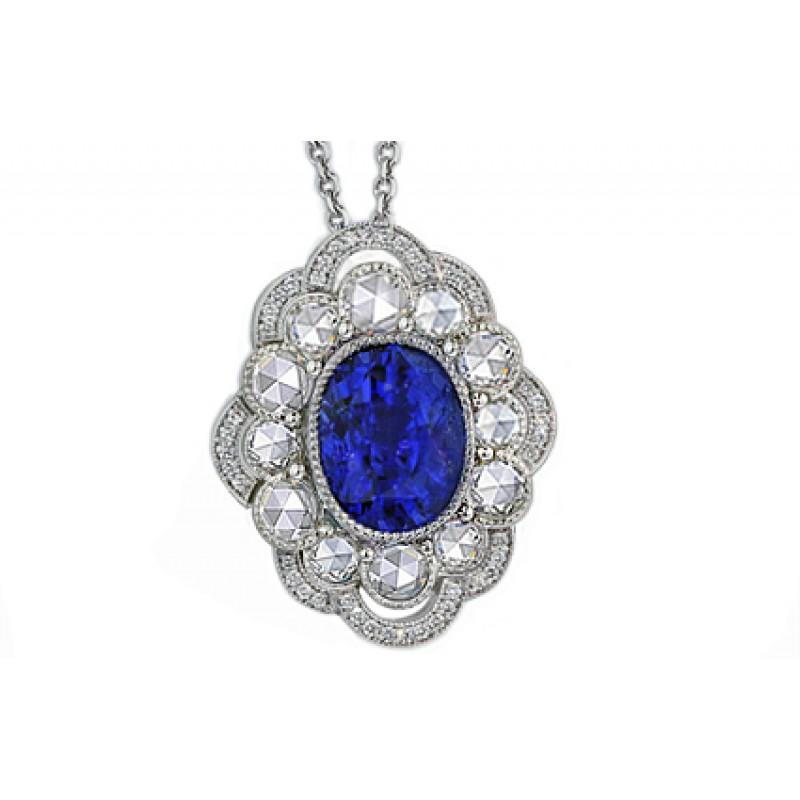 "4.2ct ""Heirloom"" sapphire and diamond pendant"