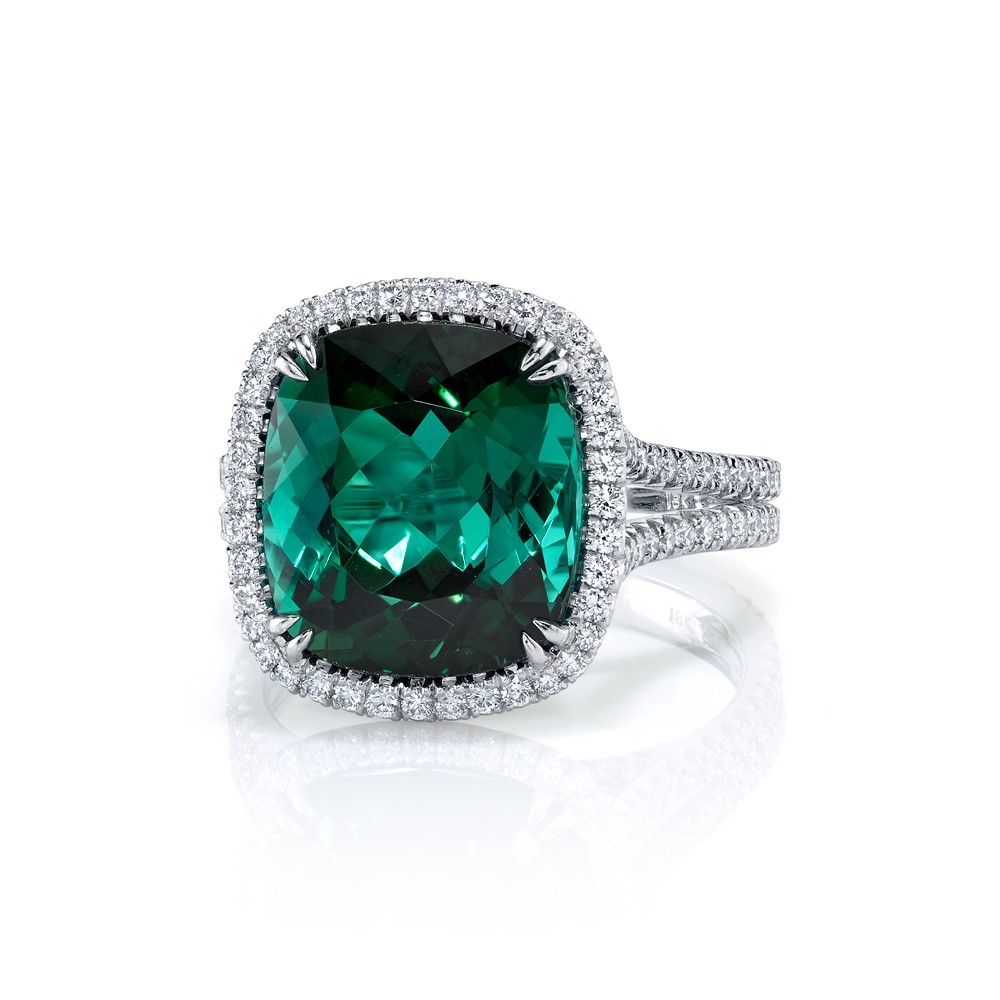 7.4ct cushion green tourmaline pave' halo ring