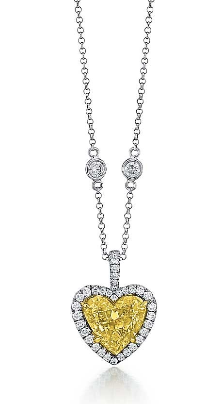 Fancy Intense Yellow heart shape diamond pendant