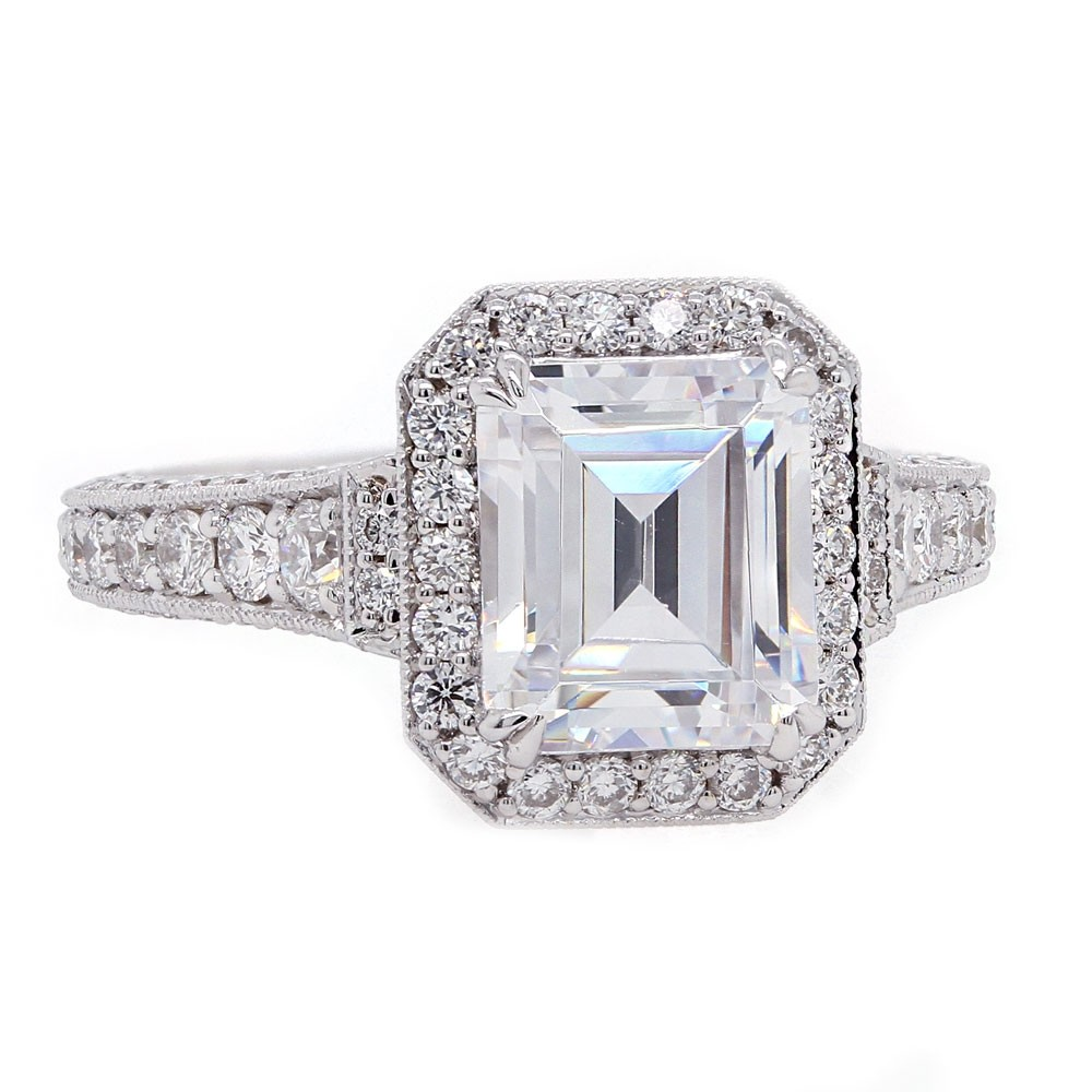 Emerald Cut Pave Halo and Band