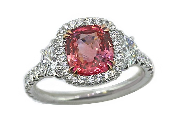 2.24ct unheated Padparadscha sapphire ring with1/2 moon diamonds and pave