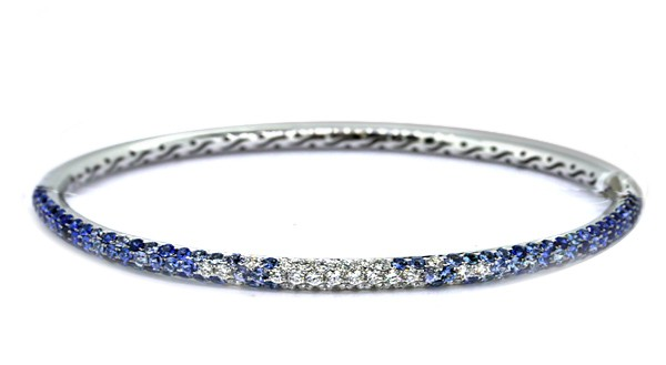 Pave' blue sapphire and diamond multi-row bracelet