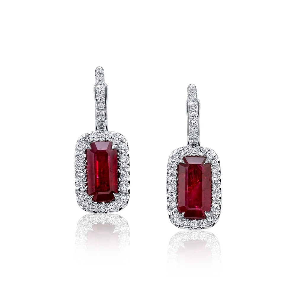 Ruby Emerald Cut Halo Earrings