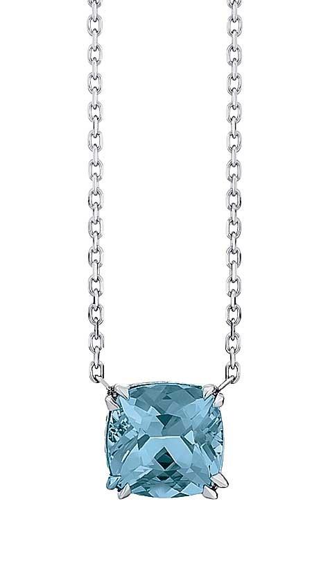 Aquamarine cushion pendant