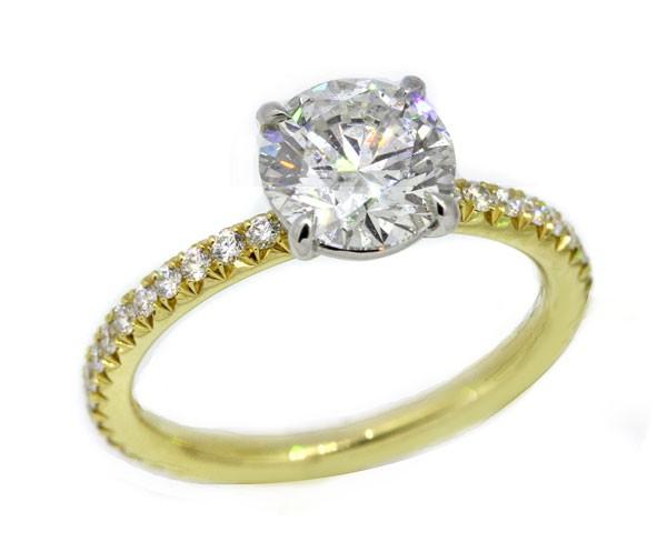 Handmade 18k yellow gold w/ platinum crown pave' solitaire ring 1.50 carat round brilliant diamond center