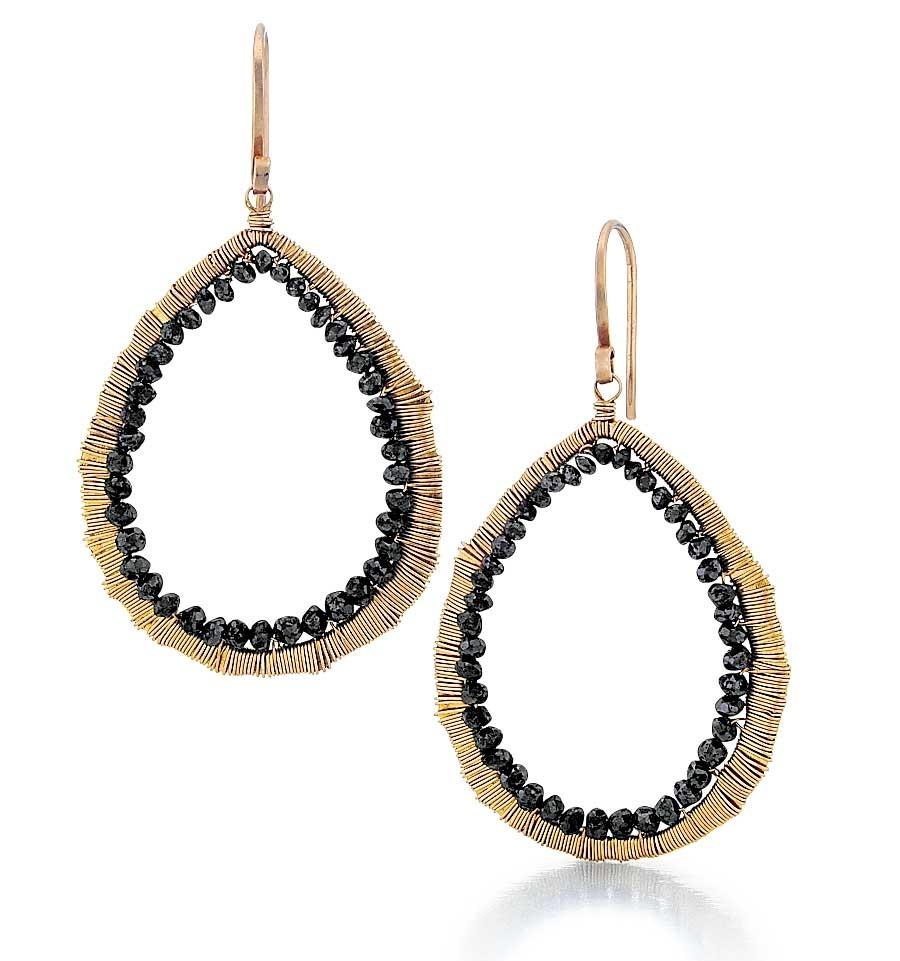 Black Diamond Open Drop Earrings