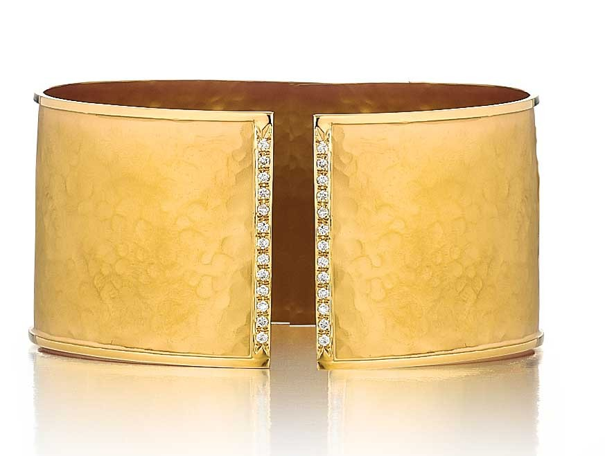 Marika design diamond cuff bangle bracelet